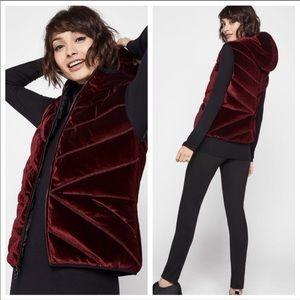 NWT BCBGENERATION Ruby Velvet Hooded Vest
